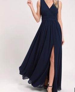 Lulu's Thoughts Of Hue Navy Blue Maxi Dress